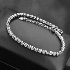 RHODIUM SILVER MADE WITH SWAROVSKI CRYSTALS Tennis bracelet Birthday Valentines