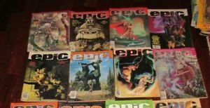 8 Epic Illustrated Marvel Magazine  Lot Books comic Fantasy 1980's