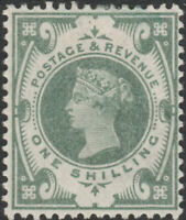 1887 JUBILEE SG211 1s DULL GREEN MINT HINGED K40(1)