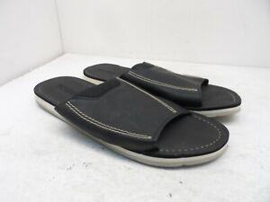 Dockers Men's Slip-On Leather Casual Slide Sandals Black/Brown Size XL 11/12