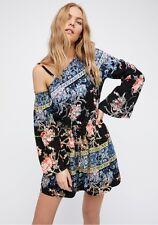 FREE PEOPLE Modern Nomad Boho Mini Dress Black Combo Size XS $128 NWT OB584073
