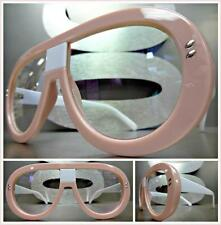 OVERSIZED CLASSIC VINTAGE RETRO Style Clear Lens EYE GLASSES Pink & White Frame