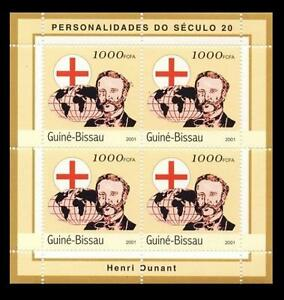 Guinea Bissau 2001 MNH 4v SS, Red Cross, Henri Dunant, Globe, Nobel Peace