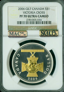 2006 CANADA SILVER DOLLAR GILT VICTORY CROSS NGC PF70 UHCam SOLO FINEST SPOTLESS