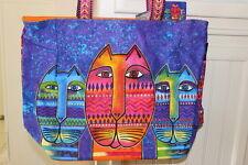 "Laurel Burch Purple Orange Three Amigos Cats Large Tote Print 14"" x 20"" x 6"" NWT"