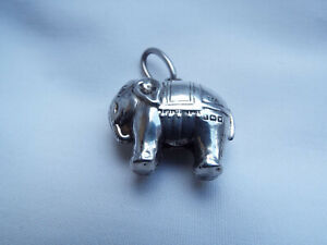 Antique sterling silver elephant baby rattle,hm 1921.