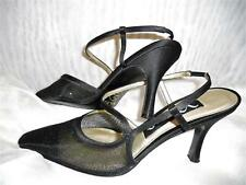 Sz 7M NINA Black Satin Sparkly Gold Mesh Toe Strappy Stiletto Dress Shoes VGC