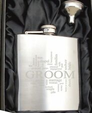 Personalised HF502 Engraved Groom 6oz Hip Flask with Funnel and Gift Box