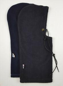 Set Of 2 VTG USA Made Cold Weather Drawstring Long Hood Hats Navy Black Retro