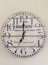 LARGE SHABBY CHIC STYLE BEACH HUT CLOCK.THIS CLOCK IS 33CM IN DIA.