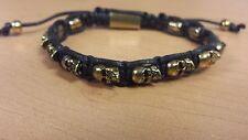 Gold Plated Skulls Black Multi Strand Adjustable Surfer Fashion Bracelet