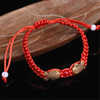 2PCS Feng Shui Red String Lucky Wooden Twin Fish Bracelet for Good Luck Wealth