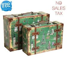 Decorative Suitcase Set Trunk 2 Vintage Antique Retro Style Luggage Travel Decor