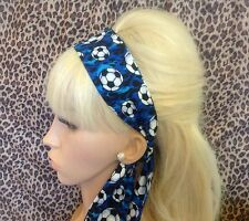 BLUE FOOTBALL SPORT PRINT NOVELTY HEAD SCARF HAIR BAND NOVELTY SELF TIE BOW
