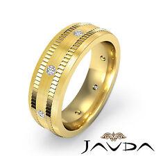 Center Matt Solid Ring Diamond Mens Eternity Wedding Band 18k Yellow Gold 0.16Ct