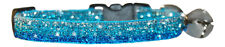 """SHADED TURQUOISE BLUE SPARKLE SAFETY KITTEN CAT  COLLAR 7""""-10"""" 17-25 cm"""