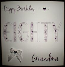 PERSONALISED HANDMADE BIRTHDAY CARD 80TH GRANDMA  GRANNY GRAN NAN NANNA NANNY