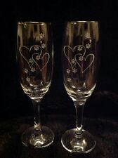 2 HEARTS PAW ETCHED GLASS FLUTES VALENTINES BOXER COLLIE SETTER LABRADOR BEAGLE