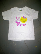 New Big Sister Smiley Face White T-Shirt, Size 2-4