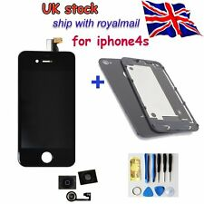 for iPhone4S Replacement Front Back Glass LCD Screen Digitizer Rear Cover+button