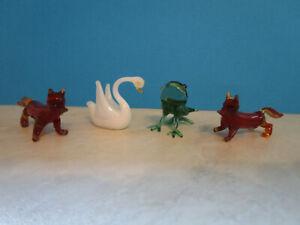 4 Setzkastenfiguren, Lauscha Glas Miniaturen (Schwan, Frosch, 2 x Fuchs )