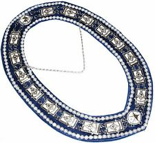 Masonic Regalia DELUXE PAST MASTER Metal Chain Collar BLUE Backing DMR-200SBWRS