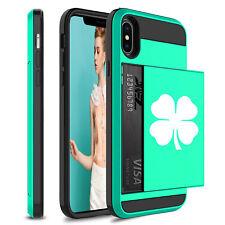 For Apple iPhone Shockproof Wallet Credit Card Holder Hard Case 4 Leaf Clover