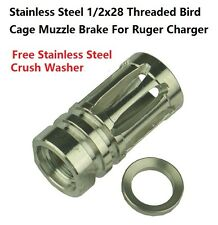 Stainless Steel Ruger's 22 Charger Birdcage Muzzle Brake 1/2x28 Thread US Seller