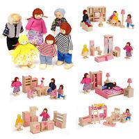 Wooden Furniture Dolls House Family Miniature 6 Room Kids Children Dolls Sets