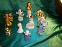 Konvolut 11 Engel alt Porzellan Keramik weiß gold blau Angel christmas Weihnacht