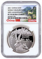 2011 China 10Y 1 oz. Silver 50th Anv WWF Tibetan Antelope NGC PF70 UC SKU43722