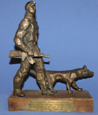 1982 Hand Made Bronze Art Work Sculpture Soldier And Dog Signed