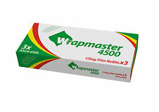 "Wrapmaster 18"" Cling Film 3 Rolls Refills (45cm x 300m) Catering Baco 4500"