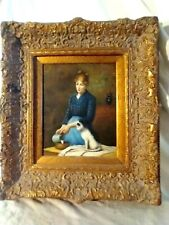 Vintage Realism Woman feeding her Cat Oil fine painting