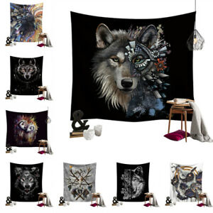 Wild Animal Wolf Tapestry Wall Hanging Polyester Blanket Bedspread Throw Cover