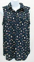 Love Potion Womens Top Sleeveless Navy Blue with Multi Color Beach Pattern S