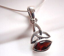 Celtic 8x4mm Marquise Garnet Pendant 925 Sterling Silver Corona Sun Jewelry