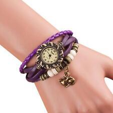 Women Vintage Fashion Cat Bracelet Watch Faux Leather Anlog Quartz Wrist Watch