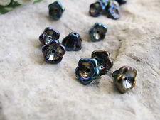 8 Blütenkelche schwarz irisierend 6x8mm, Glasperlen, Perlen basteln, Perlenengel