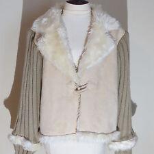 Short Jacket Coat Faux Suede & Fur Trim Sweater M L Long Sleeve Solid Beige S