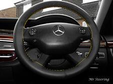 Negro Cuero Italiano cubierta del volante Para Mercedes-benz Viano Amarillo Stitch