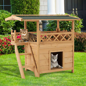 Dog Kennels Pet Cat House Outdoor Luxury Wooden Room Patio Weatherproof Ramp