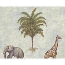 AS CREATION GIRAFFE ELEPHANT AFRICA MAP PATTERN VINYL EMBOSSED WALLPAPER 958971