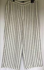 BNWT NEW Marks & Spencer Cream Black Striped Wide Leg Linen Trousers 20 RRP £39