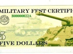 """$5 (MPC FEST) """"00000022**  (LOW SERIAL)""""SHERMAN TANKS""""  (LOW SERIAL) """"00000022"""""""