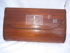 Mcm Vintage Wood Wooden Purse Handbag Clutch Leather Lining Initials FH