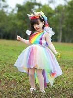 Rainbow Unicorn Princess Costume for Girl Skirt Halloween Cosplay Dress Birthday