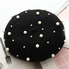 Vintage Solid Wool French Pearl Beret Hats Ski Caps Warm Winter Beanie Women 1PC