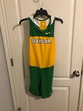 Nike Baylor Bears One Piece Track Suit L Green And Gold Short Tights