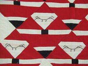 "CUTE Vintage CHRISTMAS Patchwork SANTA Quilt w/ Pine Borders; 60"" x 50"""